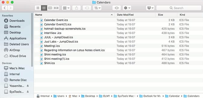 exported ICS calendars