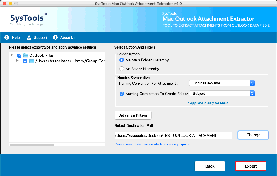 remove outlook attachments & maintain folder hierarchy
