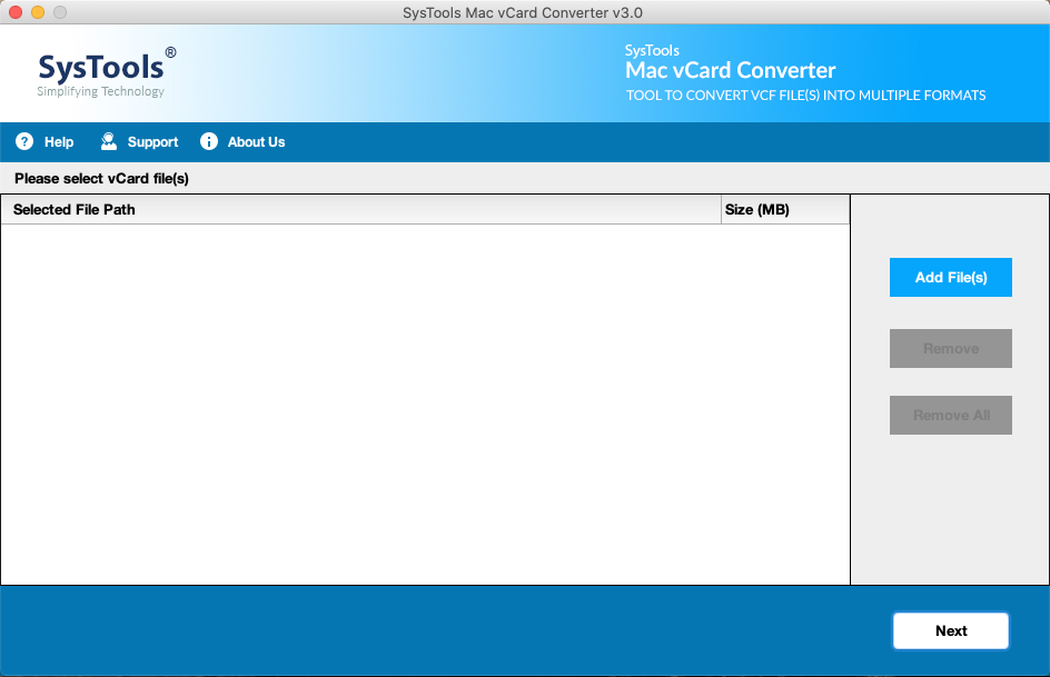 Add VCF or vCard files