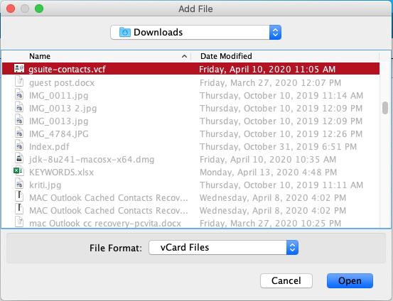 add vCard file