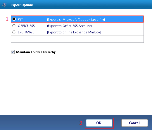 choose PST as export option