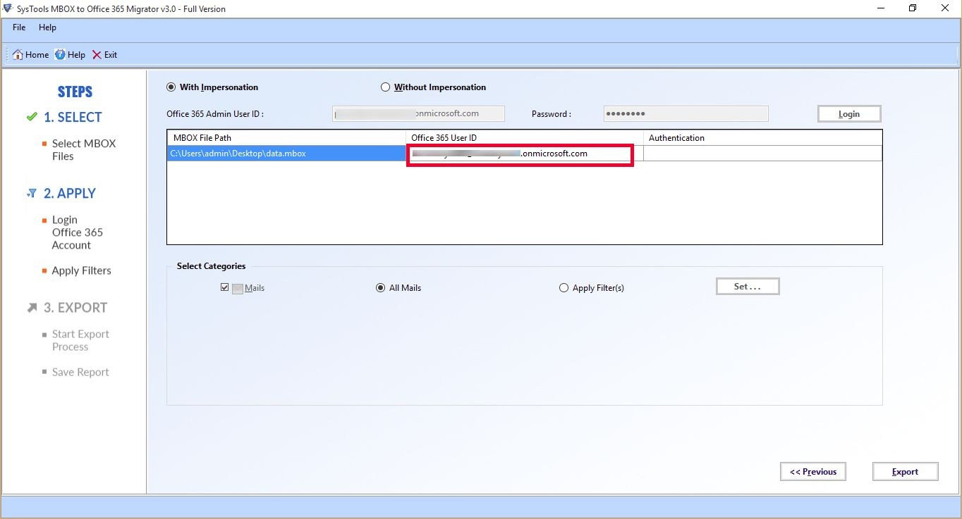 move MBOX files to MS Office 365
