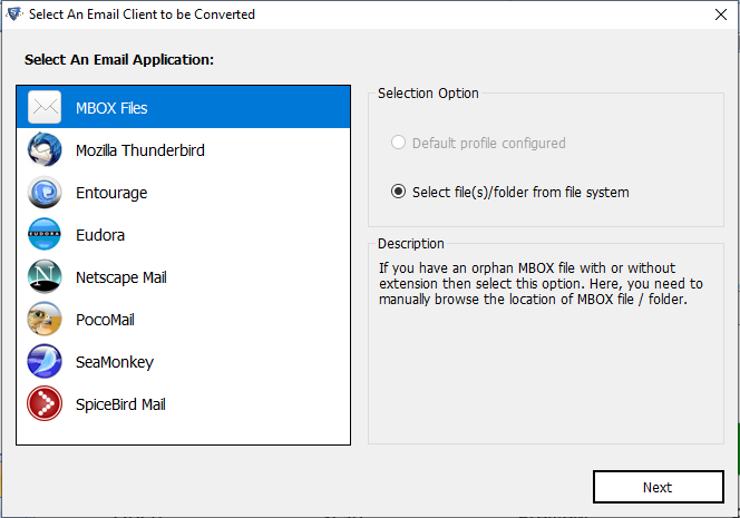 select mbox files or auto-detect option