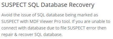 solve suspect database issue