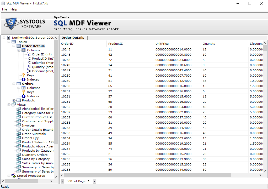 view content of mdf file