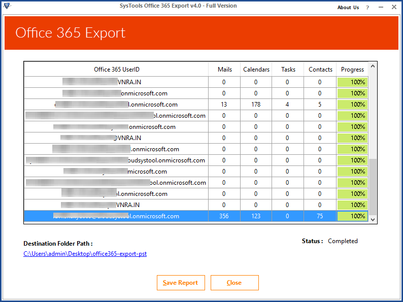 export office 365 emails
