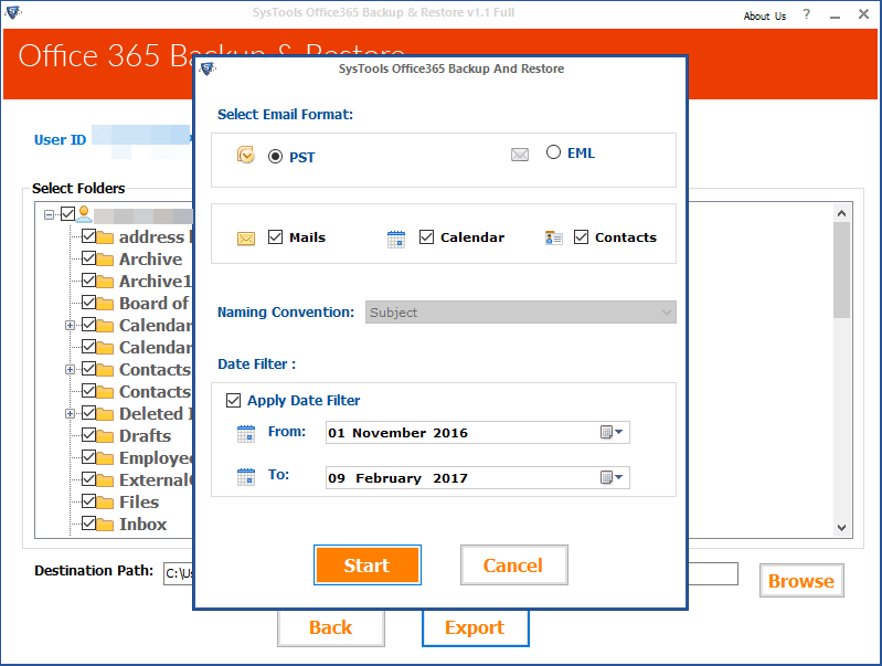 Export Office365 Mailbox to PST , EML