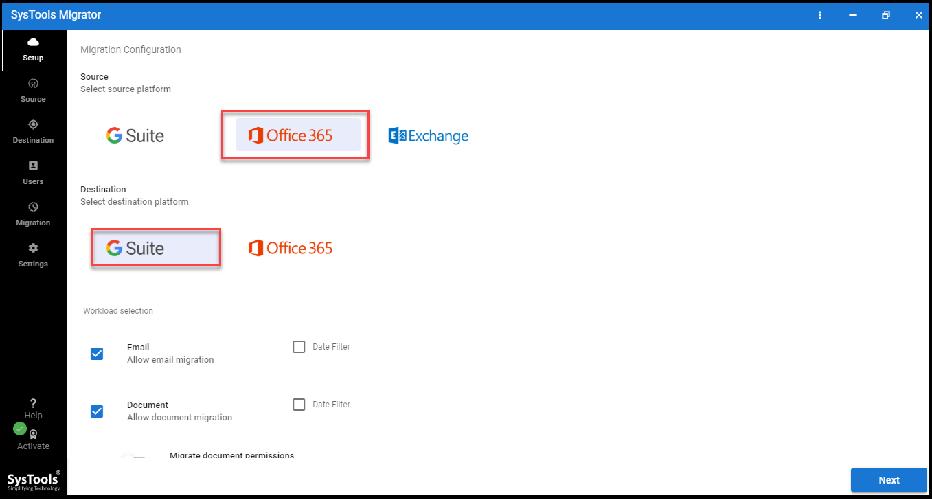 run 0365 to G Suite migration tool