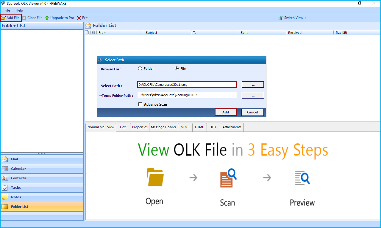 Добавить файл OLK
