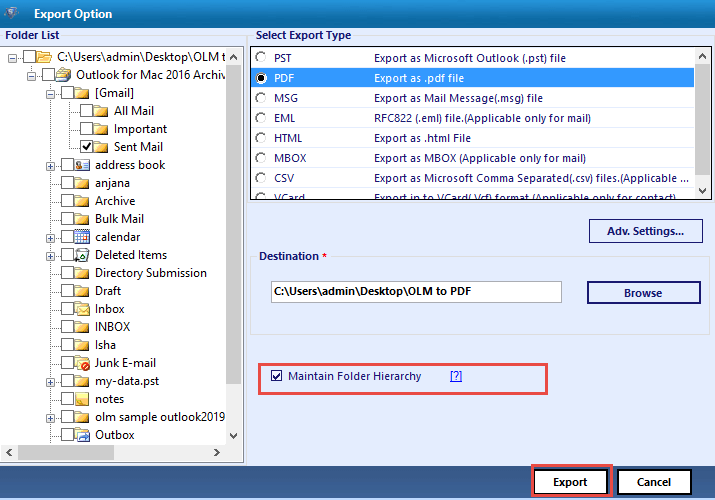 Convert OLM to MSG