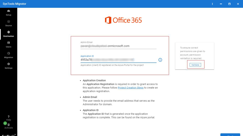 Provide Office 365 Admin ID
