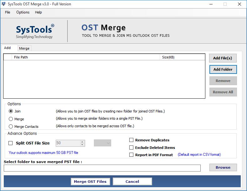 OST merge tool screen