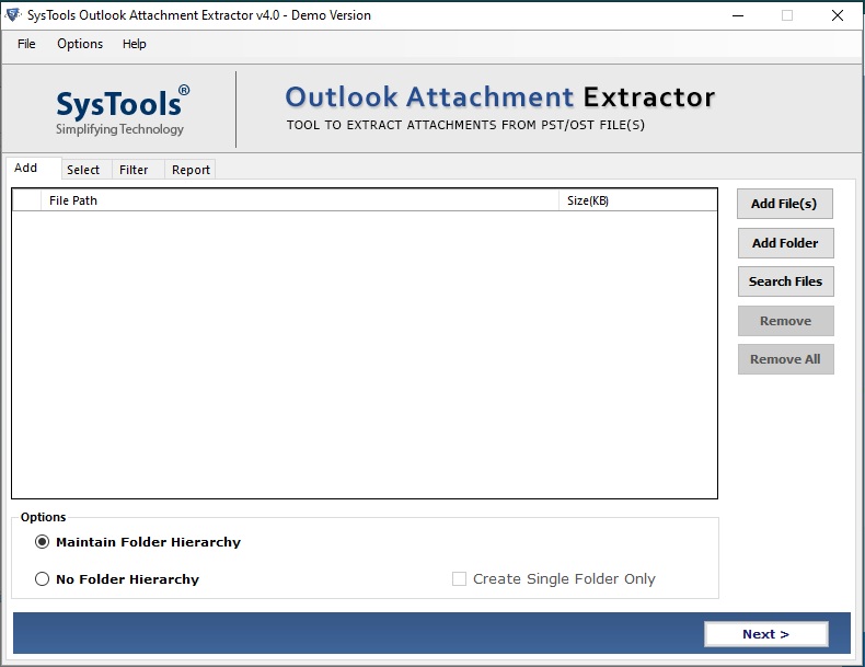 Outlook attaachment extractor