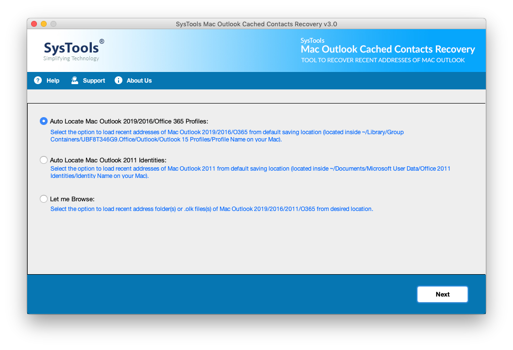 MAC Outlook Cached Contacts Recovery steps