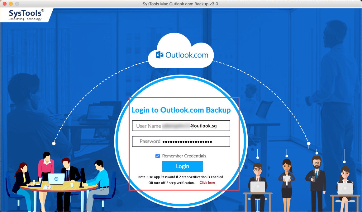 login to outlook.com backup tool