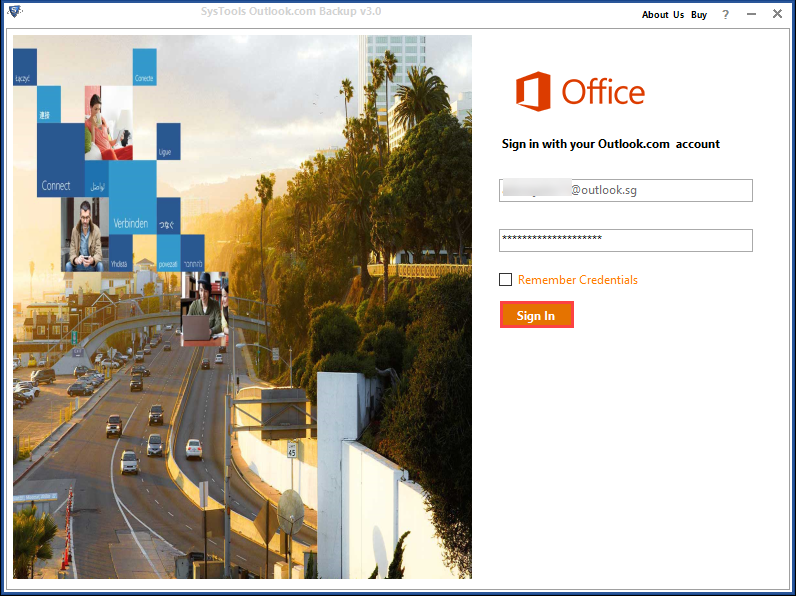 Login to the tool to download Outlook.com emails