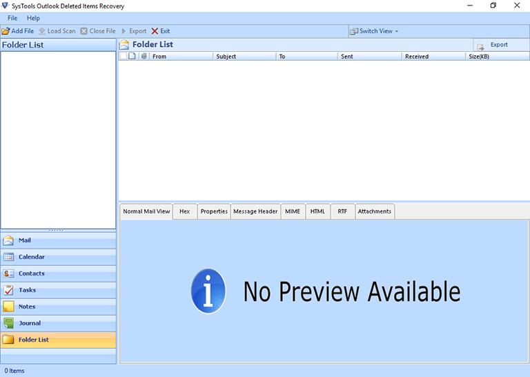 Главный экран календаря Outlook исчез.