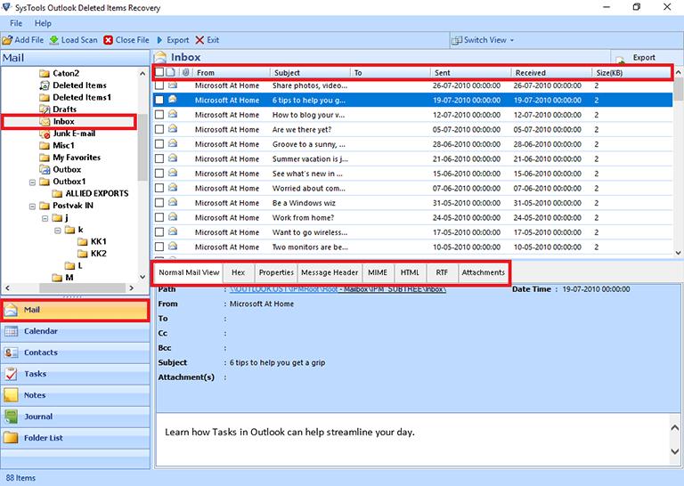 Экспорт файла Outlook