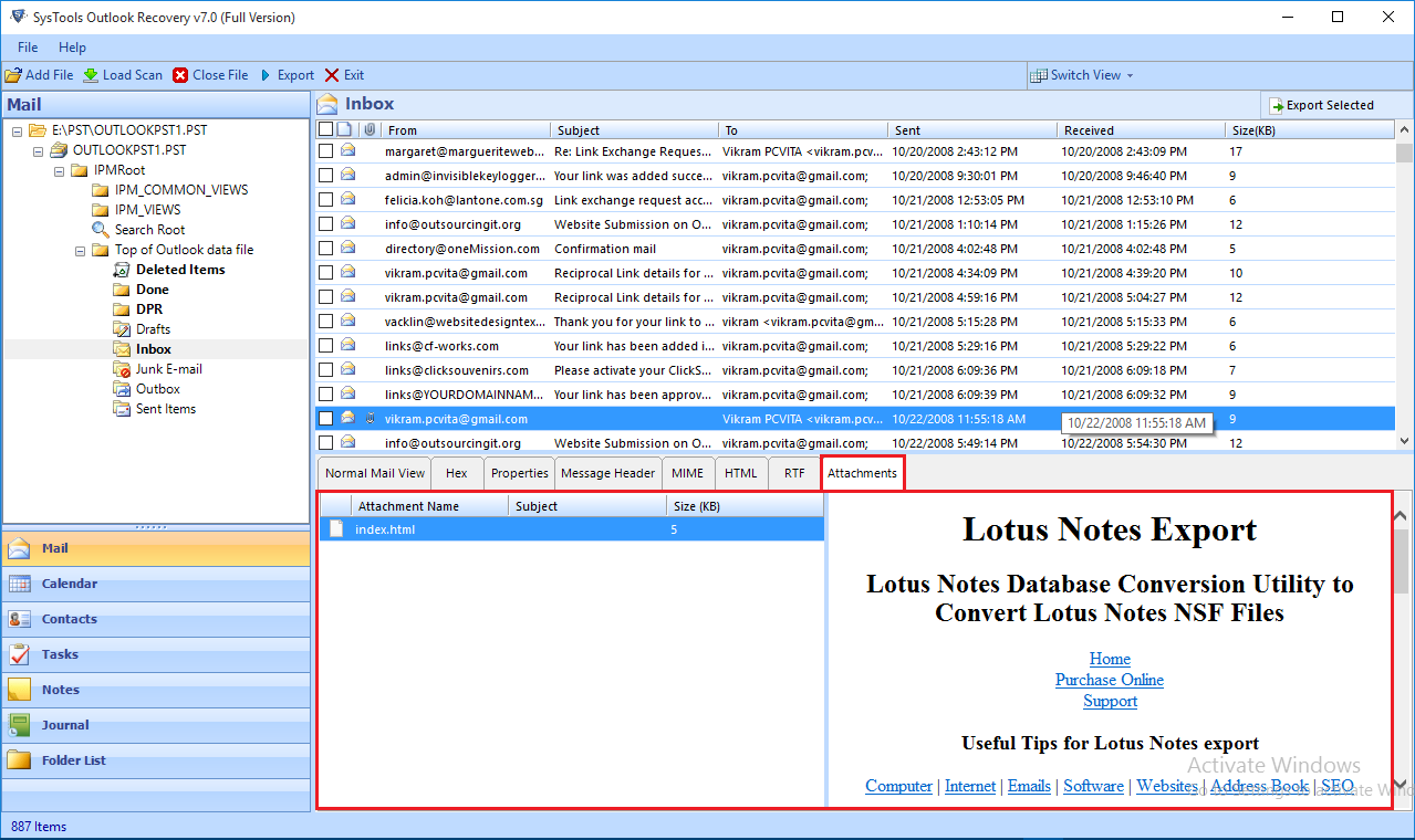 preview outlook pst emails with attachments