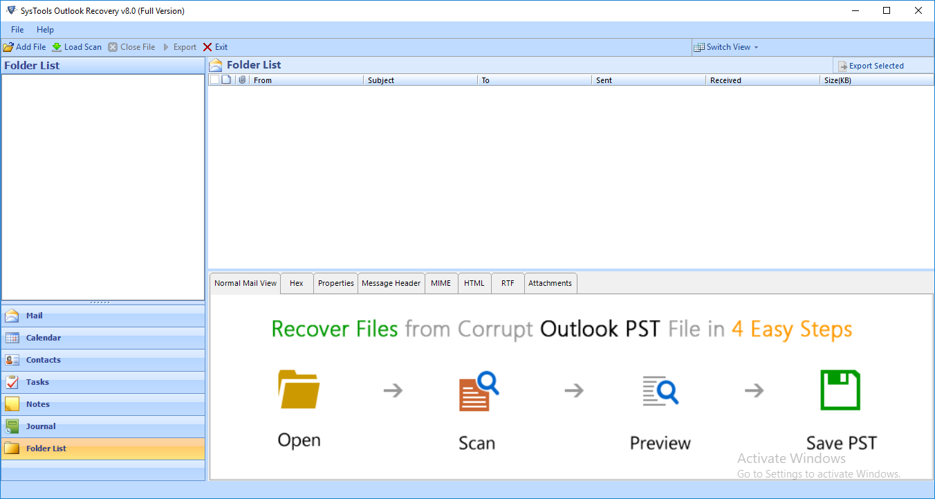outlook recovery screen