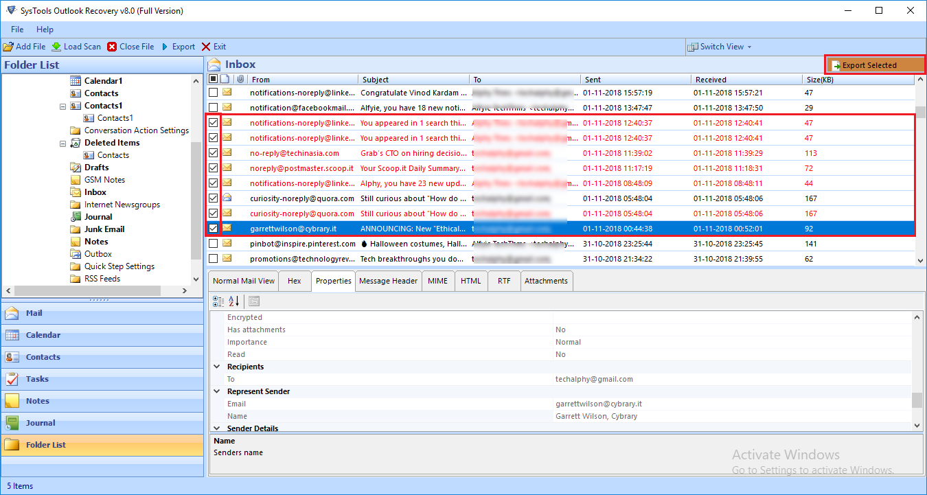 horizontal & vertical view of Outlook PST Recovery utility