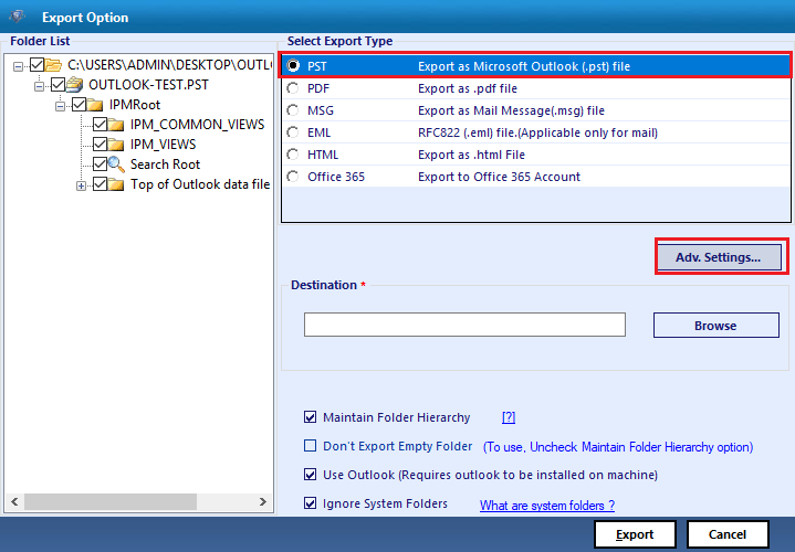save in Outlook PST