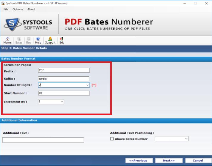 fill PDF page number format details