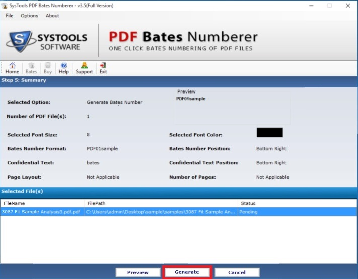 add bates numbering to pdf