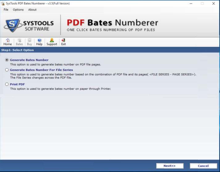 option to generate bates number in PDF
