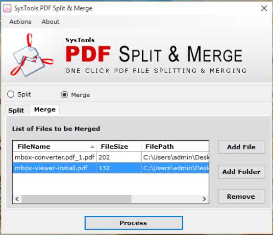 click merge pdf option