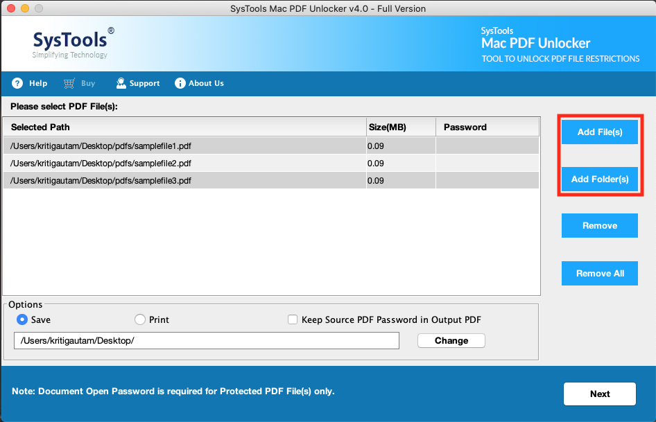 add password-protected pdf file
