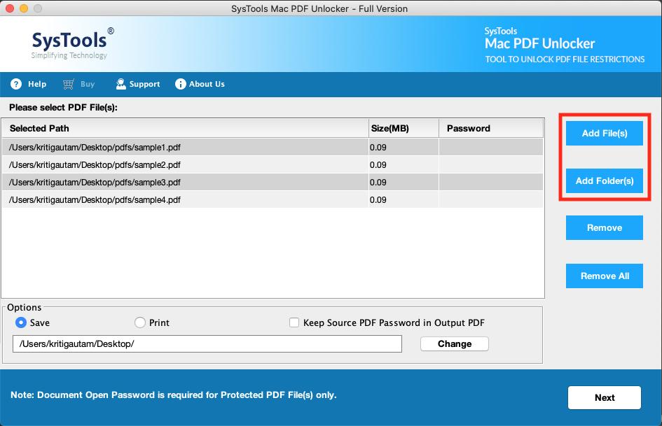 adding pdf files having permissions