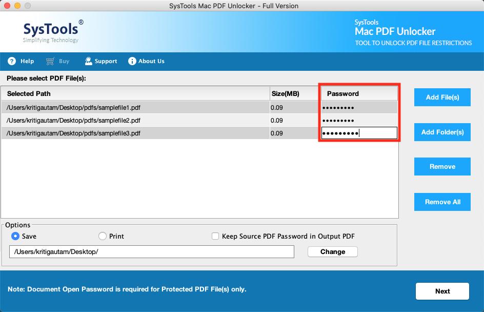 enter pdf password
