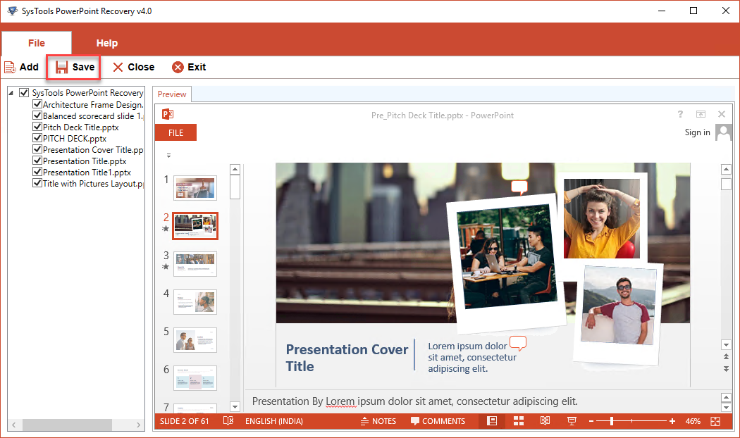 save recovered PowerPoint PPTX Presentation File