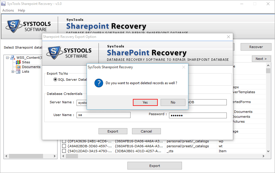 export recovered database