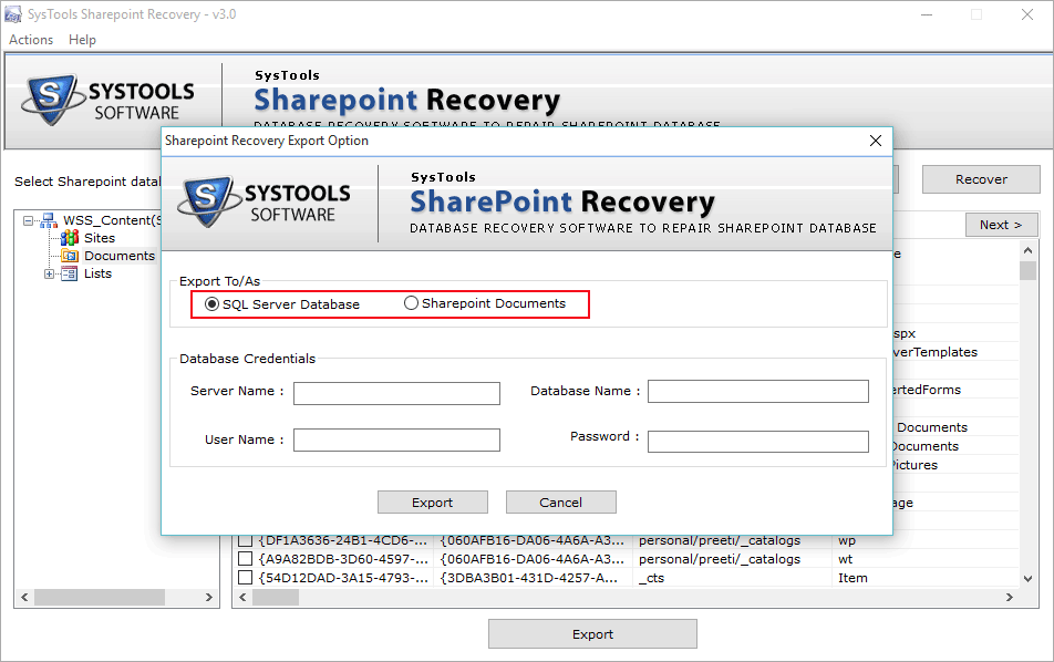 sharepoint recovery export option