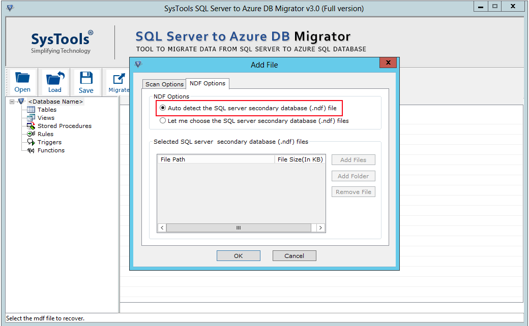 migrate ndf to azure database