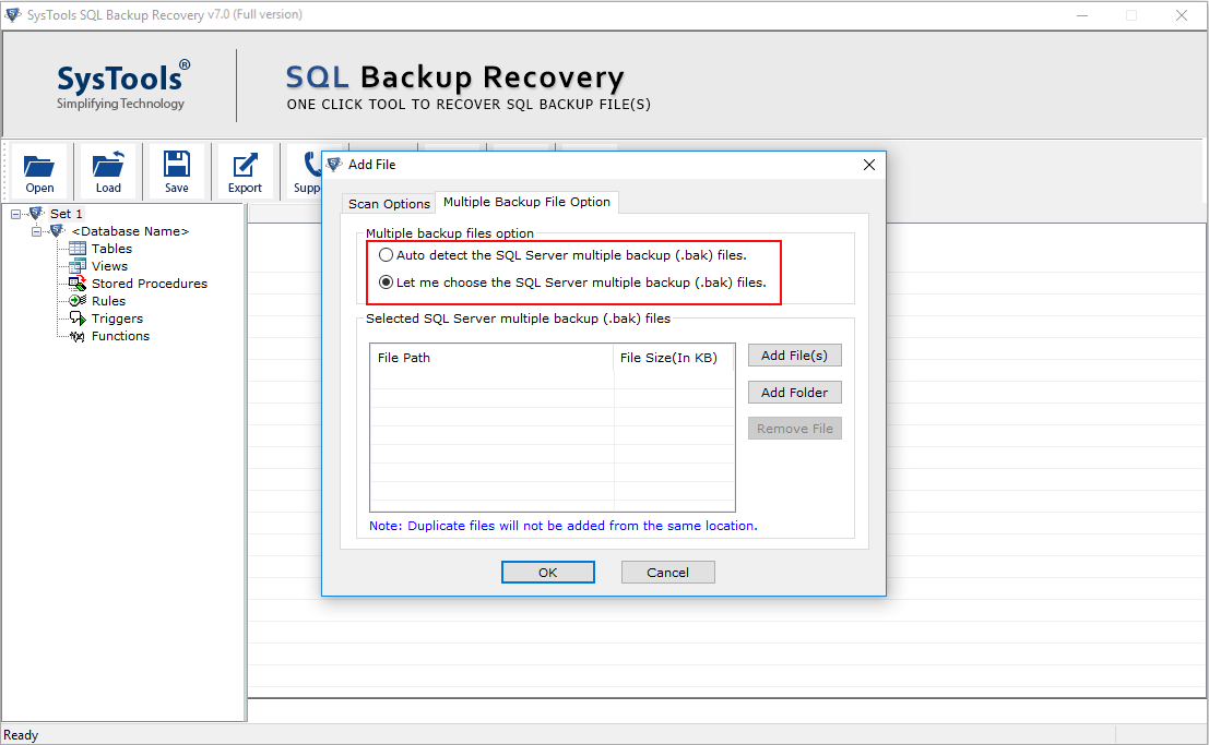 Restore Multiple BAK Files