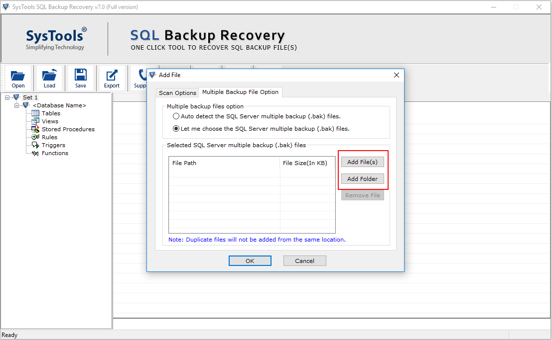 Add And Restore Multiple BAK Files