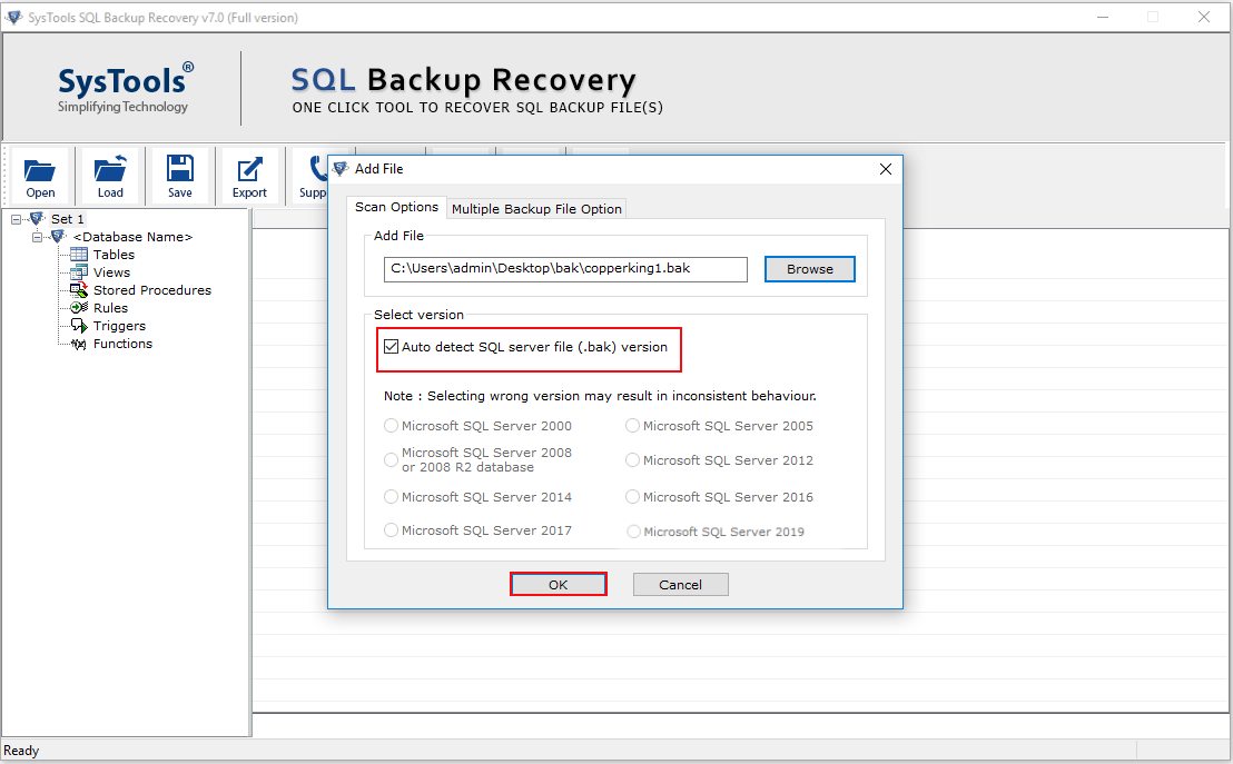 Select Version of SQL BAK File