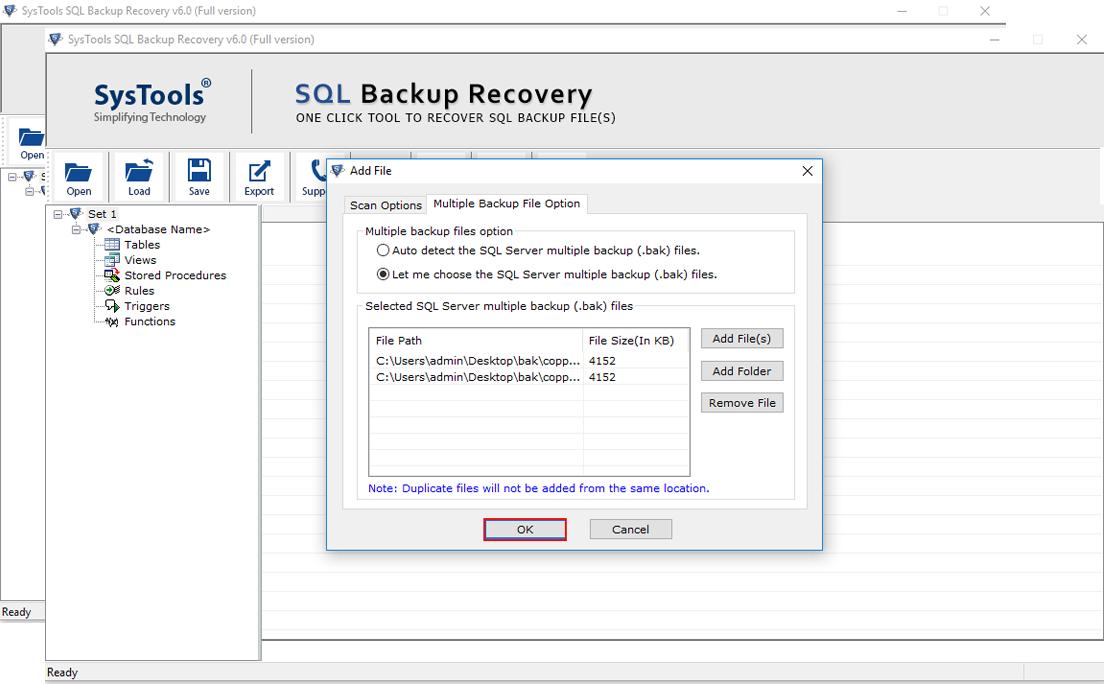 recover .bak  file