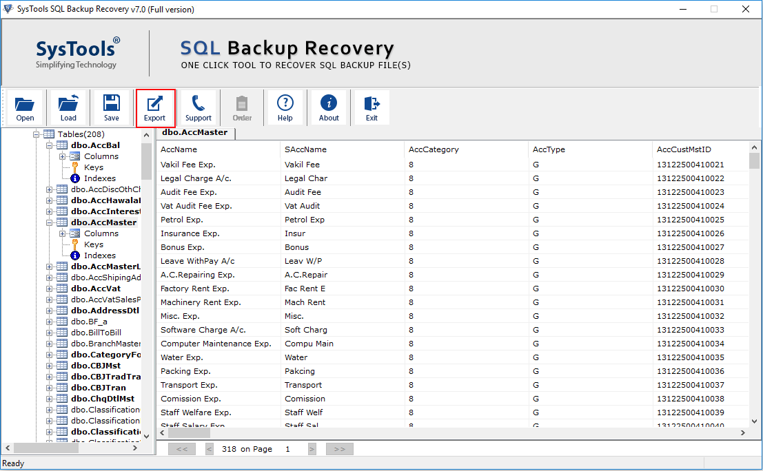 Export BAK File To SQL Server