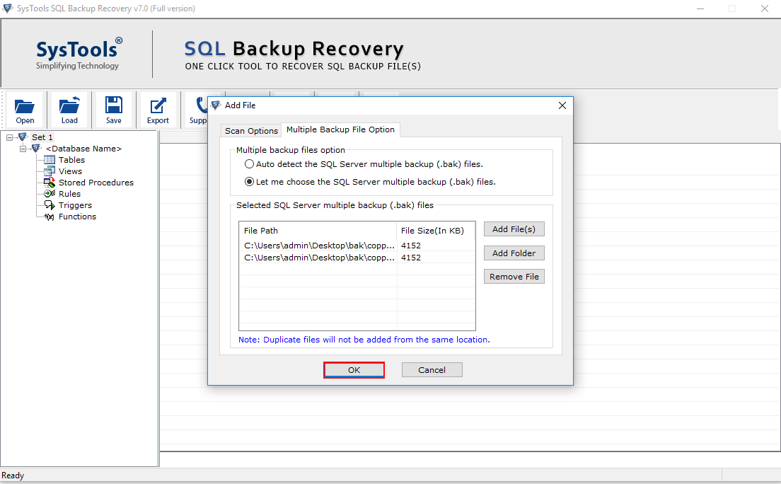add sql backup files