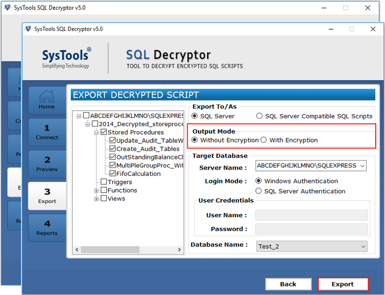 decrypt sql database objects