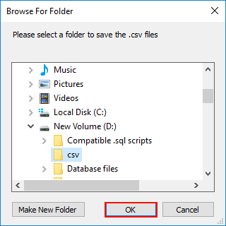 select folder to save