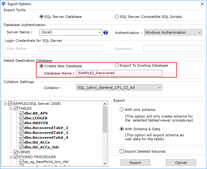Restore SQL Data to New Database