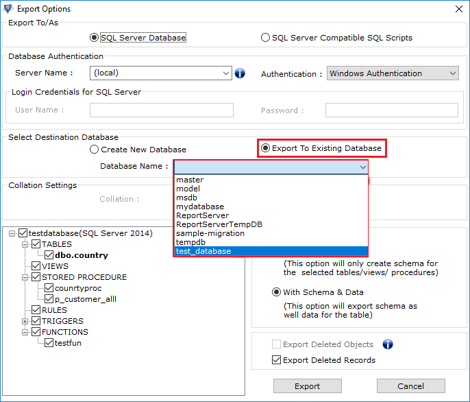 export to existing database