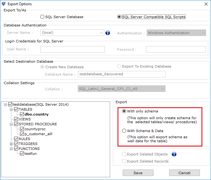 export schema options