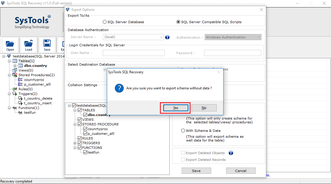 export with schema confirmation