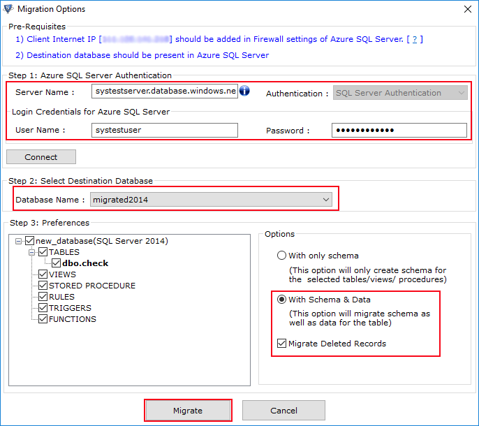 Fill Azure SQL Server Authentication